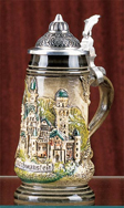 Hops/Leaves stein, 0.5l, with front panel for decoration, assorted colors available, without lid