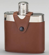 Stainless Steel Flask with Brown Leather Wrap